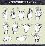 Set of vintage hands vector illustration