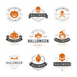 Set Vintage Happy Halloween Badges and Labels. Greetings Cards vector design elements Stock Images