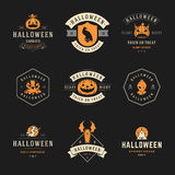Set Vintage Happy Halloween Badges and Labels. Greetings Cards vector design elements Stock Photo