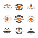 Set Vintage Happy Halloween Badges and Labels. Greetings Cards vector design elements Royalty Free Stock Photos