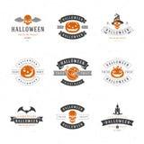 Set Vintage Happy Halloween Badges and Labels stock illustration