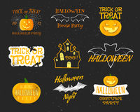 Set Of Vintage Happy Halloween Badges, Labels Stock Photo