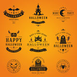 Set Vintage Happy Halloween Badges and Labels. Vector design elements Royalty Free Stock Images