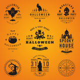 Set Vintage Happy Halloween Badges and Labels Royalty Free Stock Image