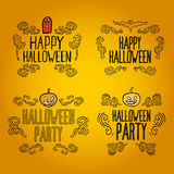 Set of vintage happy halloween banners and labels Stock Photography