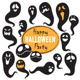 Set Of Vintage Happy Halloween flat  ghosts. Halloween Scrapbook Royalty Free Stock Image