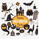 Set Of Vintage Happy Halloween flat  icons. Halloween Scrapbook Stock Photo