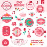 Set Of Vintage Happy Valentine's Day badges and Stock Image