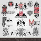 Set Vintage Heraldic Labels Or Badges With Capital Letter With Pattern And Animals Stock Photos