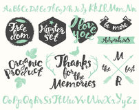 Set vintage hipster logos identity labels drawing Royalty Free Stock Photography