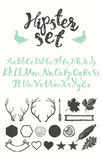 Set vintage hipster logos identity labels drawing Stock Photos