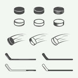 Set of vintage hockey elements in retro style. Puck, hockey stick, flying puck. Graphic Art. Vector Illustration stock illustration