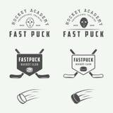 Set of vintage hockey emblems, logos, badges, labels Royalty Free Stock Image