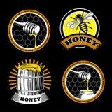 Set of vintage honey emblems. Logo illustrations. Agriculture labels on a black background. stock illustration