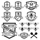 Set of vintage honey labels template. Bee icons. Design element for logo, label, emblem, sign, poster stock illustration