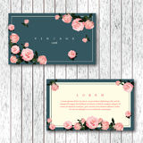 Set of vintage horizontal business cards template with flowering. Garden roses. Pink color roses on a turquoise and white background. Vector illustration Stock Photos
