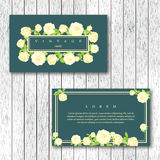 Set of vintage horizontal business cards template with flowering. Garden roses. White color roses on a turquoise background. Vector illustration Stock Photography