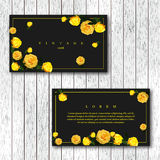 Set of vintage horizontal business cards template with flowering. Garden roses. Yellow color roses on a black background. Vector illustration Royalty Free Stock Photography