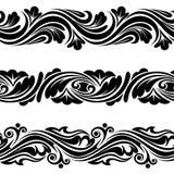 Set of vintage horizontal seamless vignettes. Royalty Free Stock Image