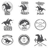 Set of vintage horse polo club labels Royalty Free Stock Photos