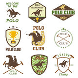 Set of vintage horse polo club labels Stock Photo