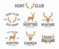 Set of vintage hunting and deer logo and label Stock Image