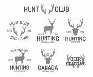Set of vintage hunting and deer logo and label Stock Photo