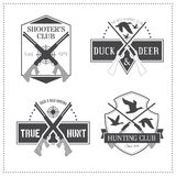 Set of 4 vintage hunting emblems Royalty Free Stock Photo