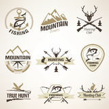 Set of vintage hunting and fishing emblems Royalty Free Stock Images