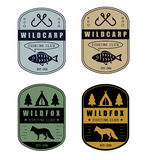 Set of vintage hunting and fishing logo Royalty Free Stock Photos
