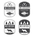 Set of vintage hunting and fishing logo Stock Images