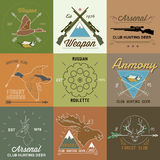 Set of vintage hunting labels and design elements Royalty Free Stock Image
