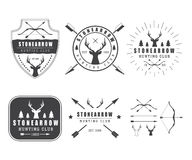 Set of vintage hunting labels, logo, badge and design elements Stock Photos