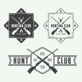 Set of vintage hunting labels, logo, badge and design elements. Royalty Free Stock Photos