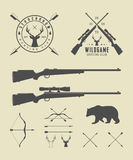 Set of vintage hunting labels, logo, badge and design elements. Royalty Free Stock Image