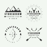 Set of vintage hunting labels, logos and badges Stock Image
