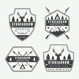 Set of vintage hunting labels, logos and badges Royalty Free Stock Image