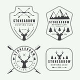 Set of vintage hunting labels, logos and badges Stock Images