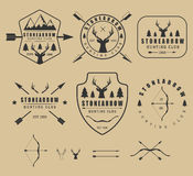 Set of vintage hunting logos, labels, badges and elements Stock Photography