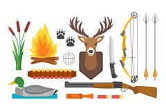 Set of vintage hunting symbols camping objects design elements flat style hunter weapons and forest wild animals and. Other outfit isolated vector illustration Royalty Free Stock Photos
