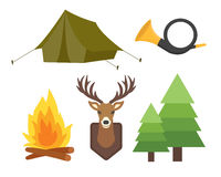 Set of vintage hunting symbols camping objects design elements flat style hunter weapons and forest wild animals  Stock Photo