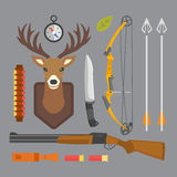 Set of vintage hunting symbols camping objects design elements flat style hunter weapons and forest wild animals and Royalty Free Stock Photography