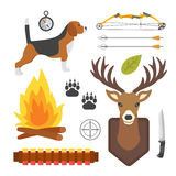 Set of vintage hunting symbols camping objects design elements flat style hunter weapons and forest wild animals and. Other outfit isolated vector illustration Stock Photo