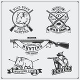 Set of vintage hunting wild boar labels, badges, emblems and design elements. Royalty Free Stock Photos