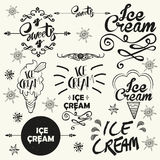Set of vintage ice cream shop logo badges and Stock Image