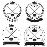 Set of Vintage Ice Hockey Club Badge and Label Stock Images