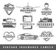 Set of vintage insurance labels Royalty Free Stock Photography