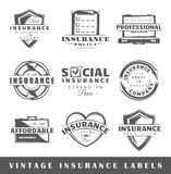 Set of vintage insurance labels Royalty Free Stock Photos