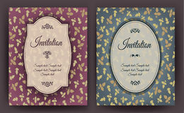 Set of vintage invitation card with floral pattern, can be used for baby shower, wedding, birthday and other holidays. Royalty Free Stock Photos