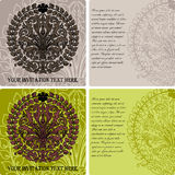 Set of vintage invitation cards on baroque style Royalty Free Stock Photography